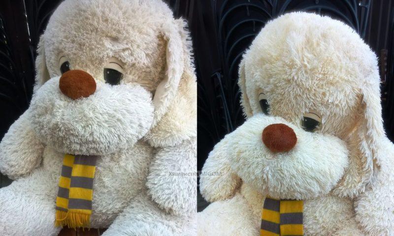Большая игрушка до и после химчистки картинка